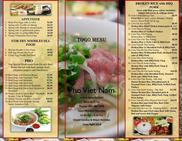 Online Menu Of Pho Viet Nam Mesa Az