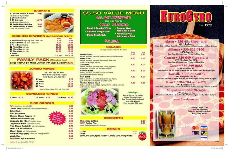 Eurogyro Menu Kent / All our food is made fresh in our kitchen.