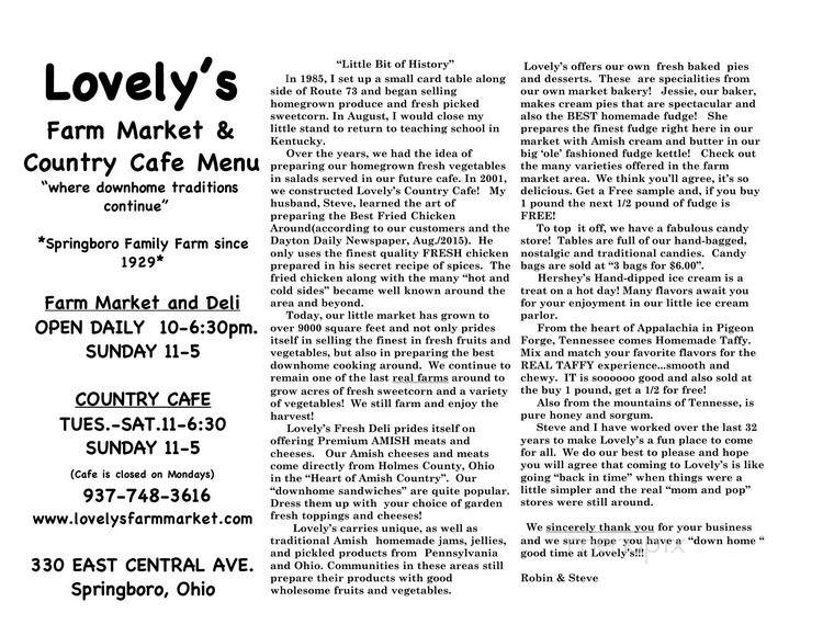 Menu For Lovelys Farm Market Springboro Oh