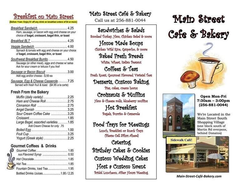 Menu of Main Street Cafe and Bakery in Huntsville, AL 35802