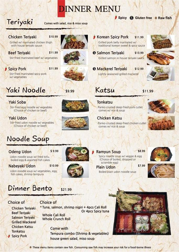 Menu Of Sushi Ya In Kennewick, WA 99336
