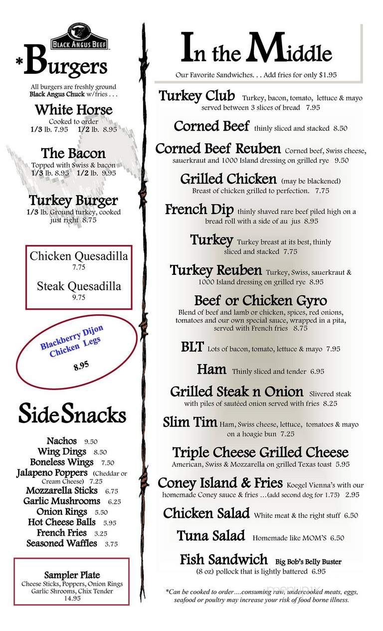Menu Of White Horse Tavern In Flint Mi 48503