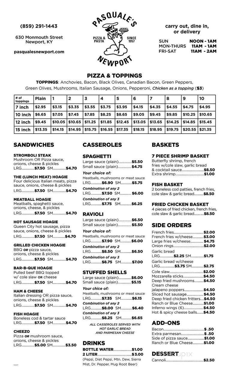 Menu Of Pasquale S Pizza Carry Out In Newport Ky 41071