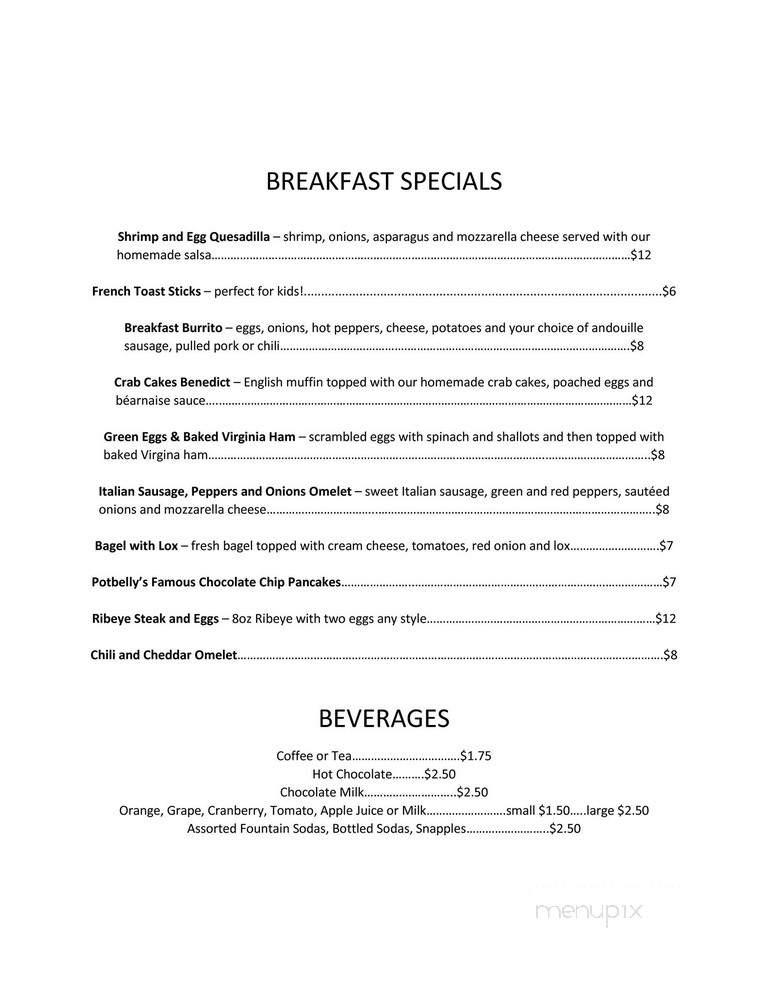 Menu of Potbelly's Riverside Cafe in Rockaway, NJ 07866