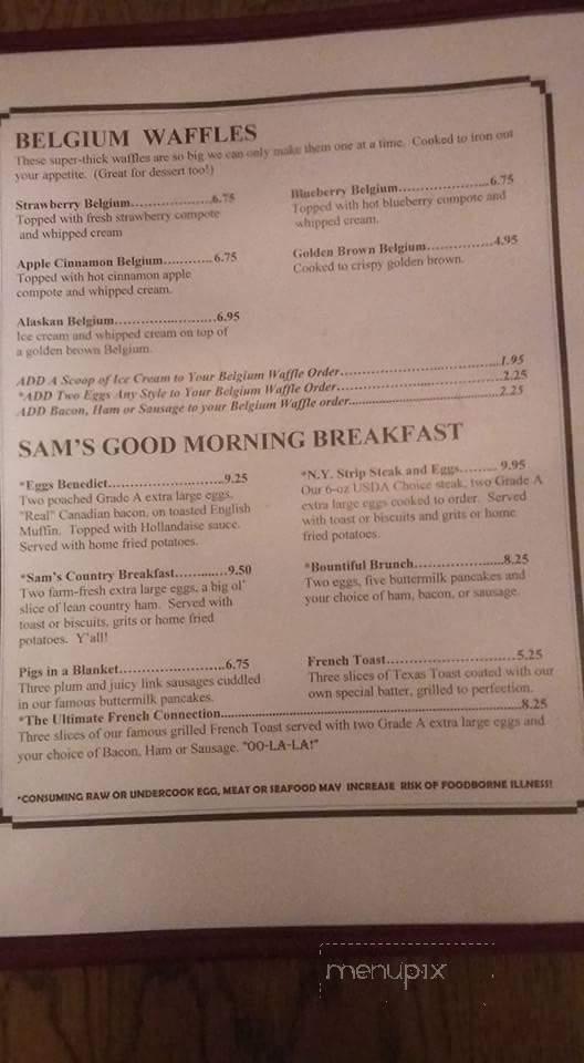 Menu Of Sam S Kitchen In Charlottesville Va 22901