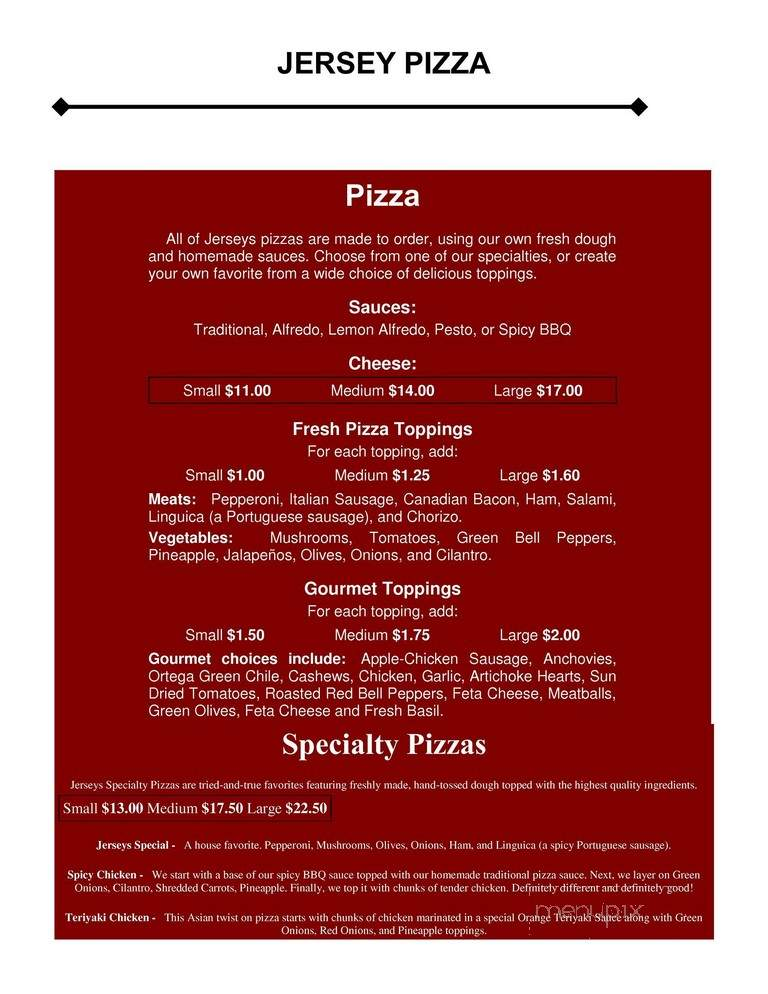 Online Menu of Jerseys Pizza Of Redlands, Redlands, CA