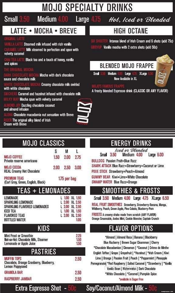 Online Menu of Mojo Coffee, Burnet, TX