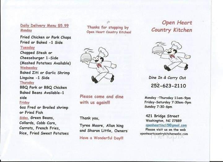 Online Menu Of Open Heart Country Kitchen Washington Nc