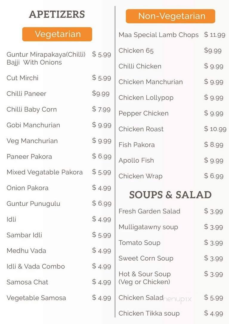 Menu Of Maa Kitchen In Jacksonville Fl 32256