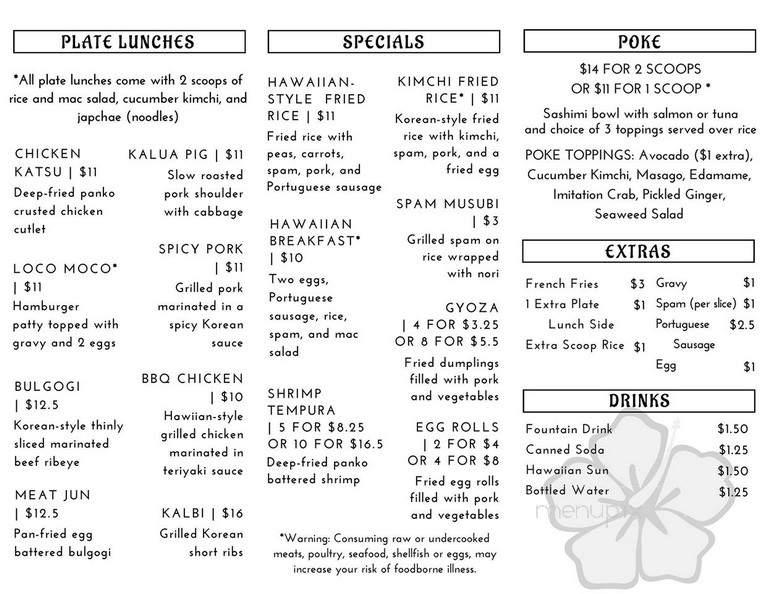 Menu Of Ohana Kitchen In Burien Wa 98166
