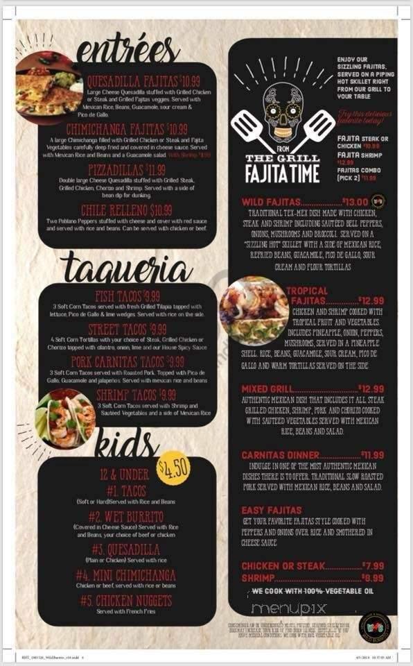 Online Menu of Wild Burrito, Madison, OH