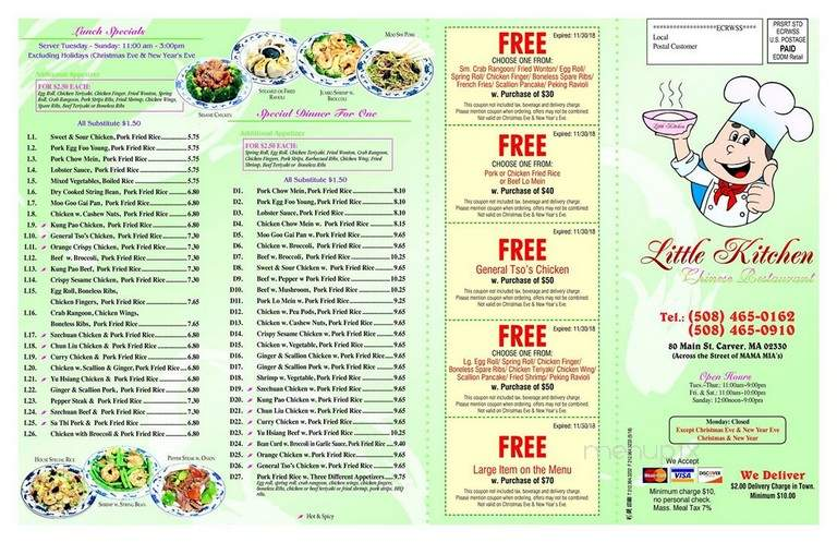 Menu Of Little Kitchen Chinese Restaurant In Carver Ma 02330