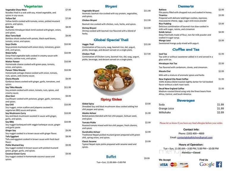 Online Menu of Global Kitchen