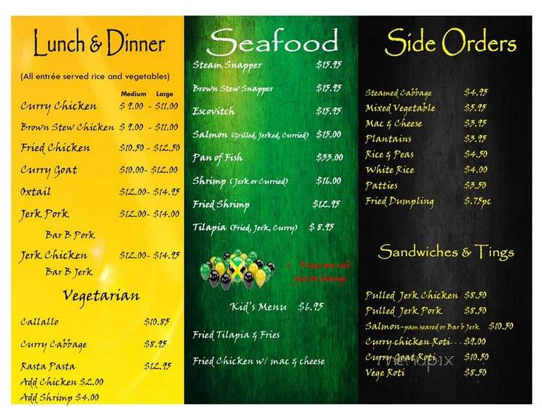 menu of auntie rita's jamaican cuisine in salina ks 67401