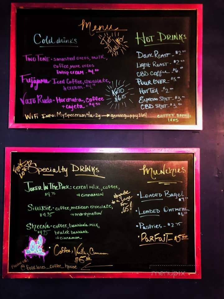 Menu Of Folklores Coffee House In San Antonio Tx 78214