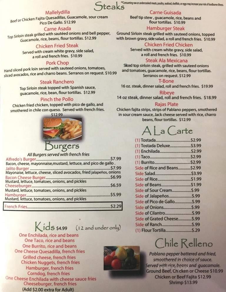 Online Menu Of Alfredos Mexican Restaurant Kingsland Tx