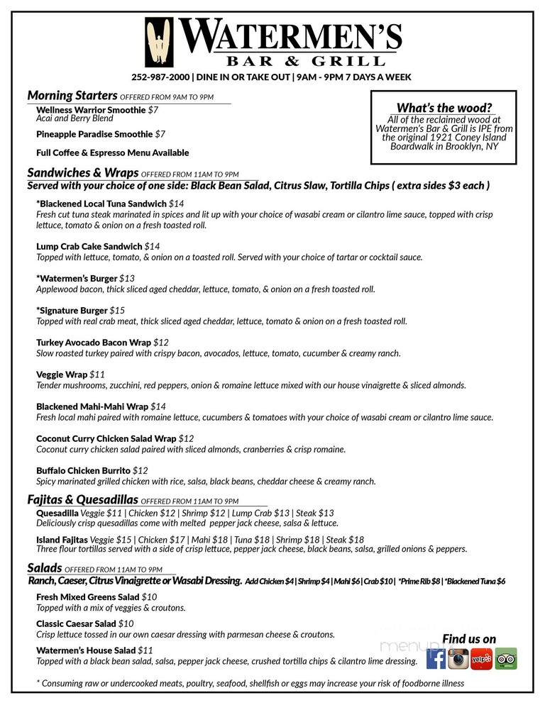 Online Menu of Watermen's Bar and Grill, Waves, NC