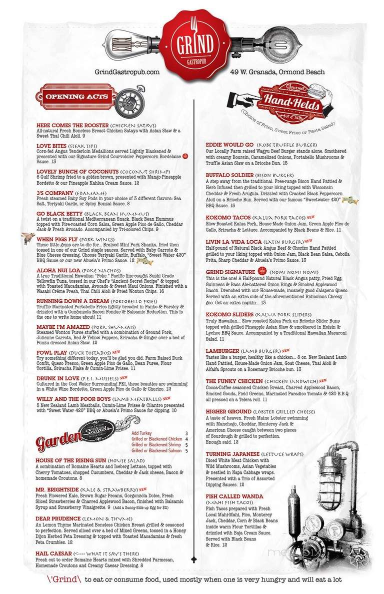 Menu of Grind Gastropub and Kona Tiki Bar in Ormond Beach ...