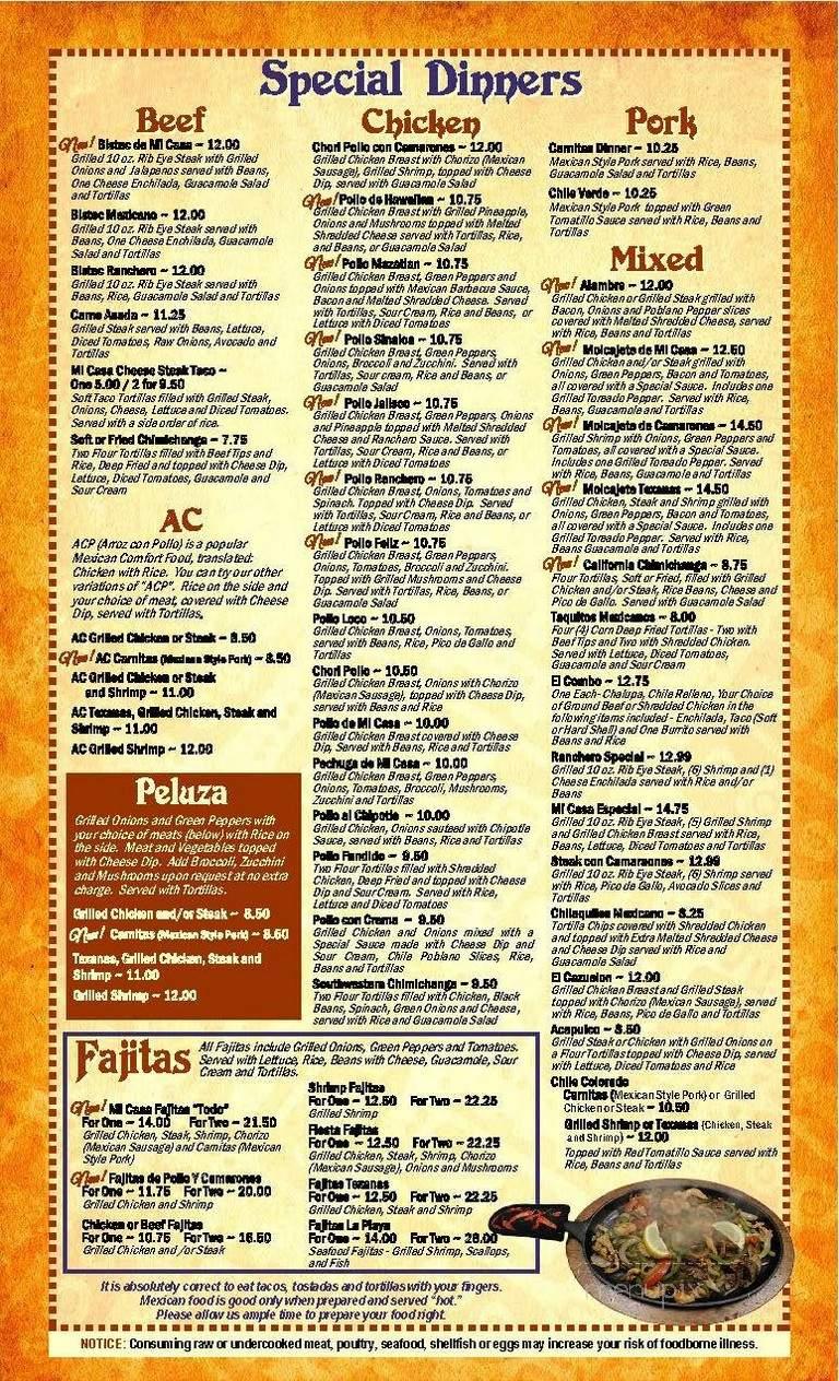 Online Menu Of Mi Casa Restaurante Mexicano Lexington Nc