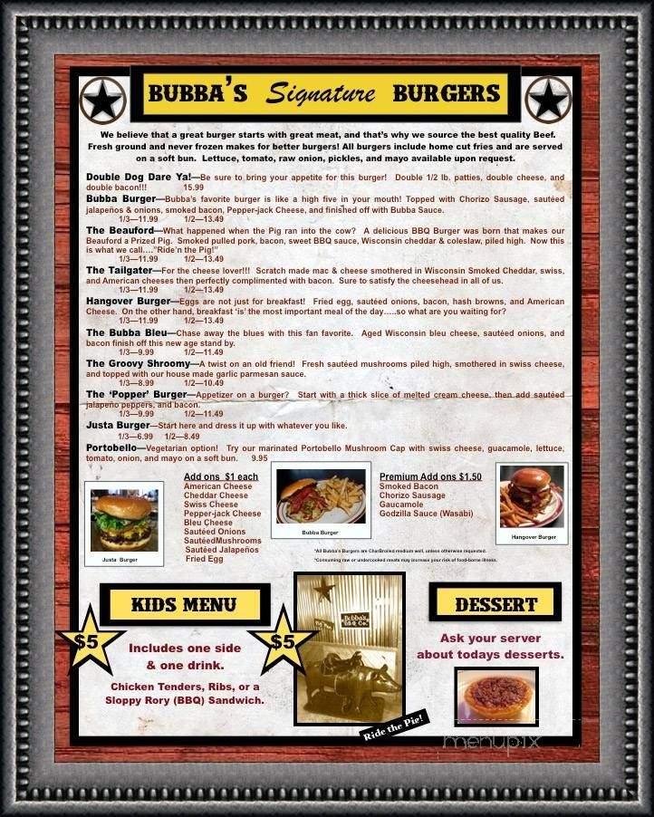 Menu Of Bubba's BBQ Co. In Shawano, WI 54166