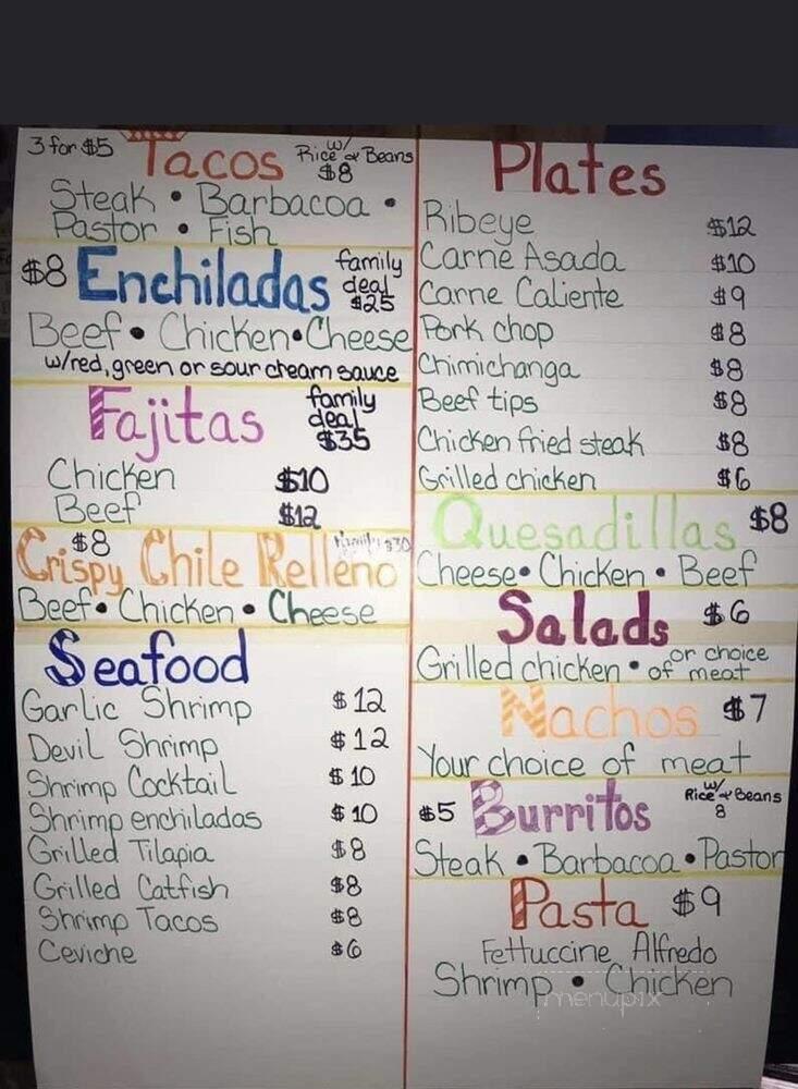 Online Menu Of El Patio Mexican Restaurant Canyon Tx