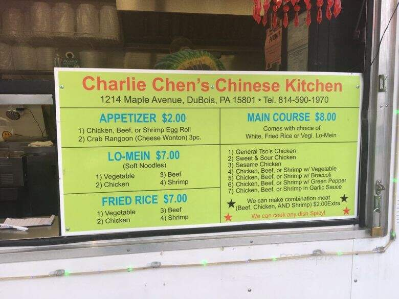 Menu Of Charlie Chen S Chinese Kitchen In Dubois Pa 15801