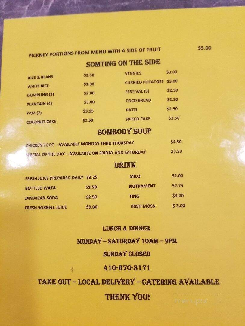 menu of hotpot jamaican restaurant in edgewood md 21040