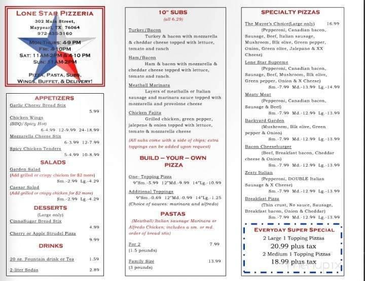 Online Menu Of Lone Star Pizza Maypearl Tx