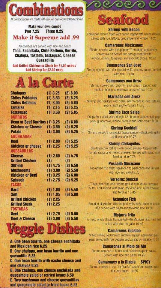 Menu of Don Jose Mexican Restaurant in Florence, SC 29501
