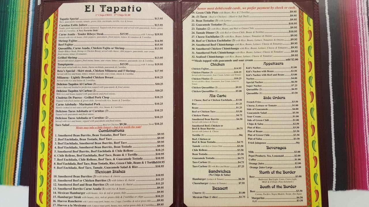 Menu Of El Tapatio Mexican Restaurant