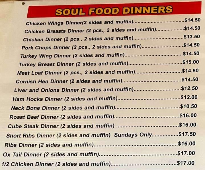 Menu of Motor City Soul Food in Oak Park, MI 48237