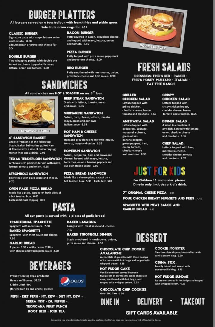 Online Menu Of Freds Pizza Express Portsmouth Oh