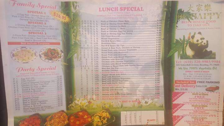 menu of be happy chinese restaurant in reading pa 19601