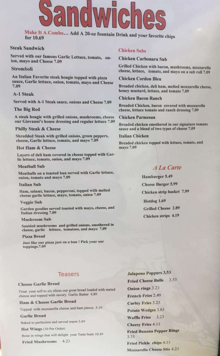Menu Of Giovanni S Pizza In Hazard Ky 41701