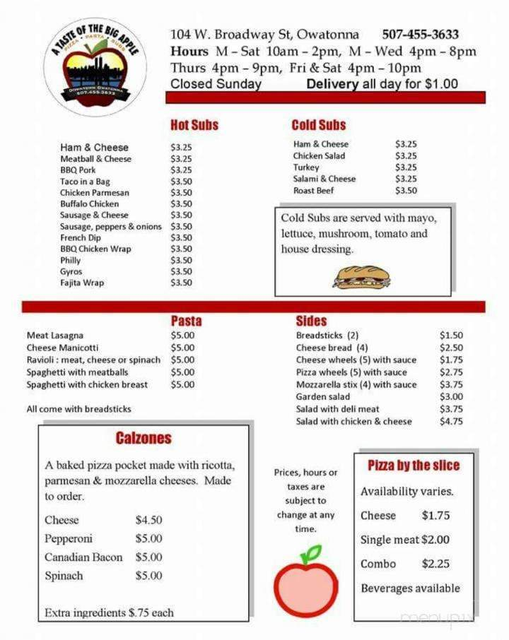 Menu of A Taste Of The Big Apple in Owatonna, MN 55060