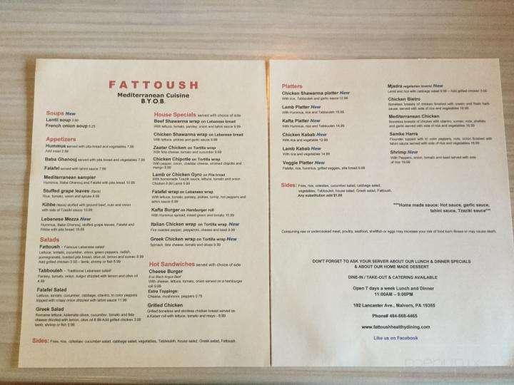Menu Of Fattoush In Malvern Pa 19355