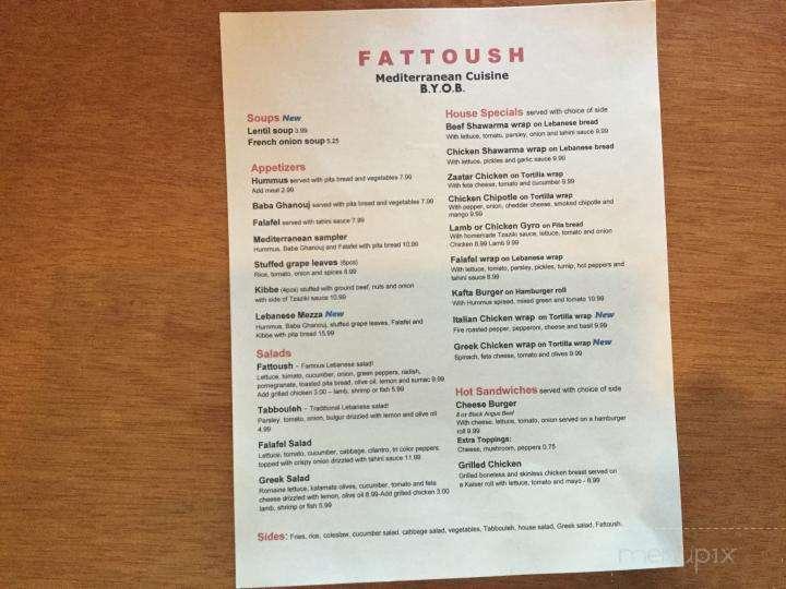 Menu Of Fattoush In Malvern Pa 19355