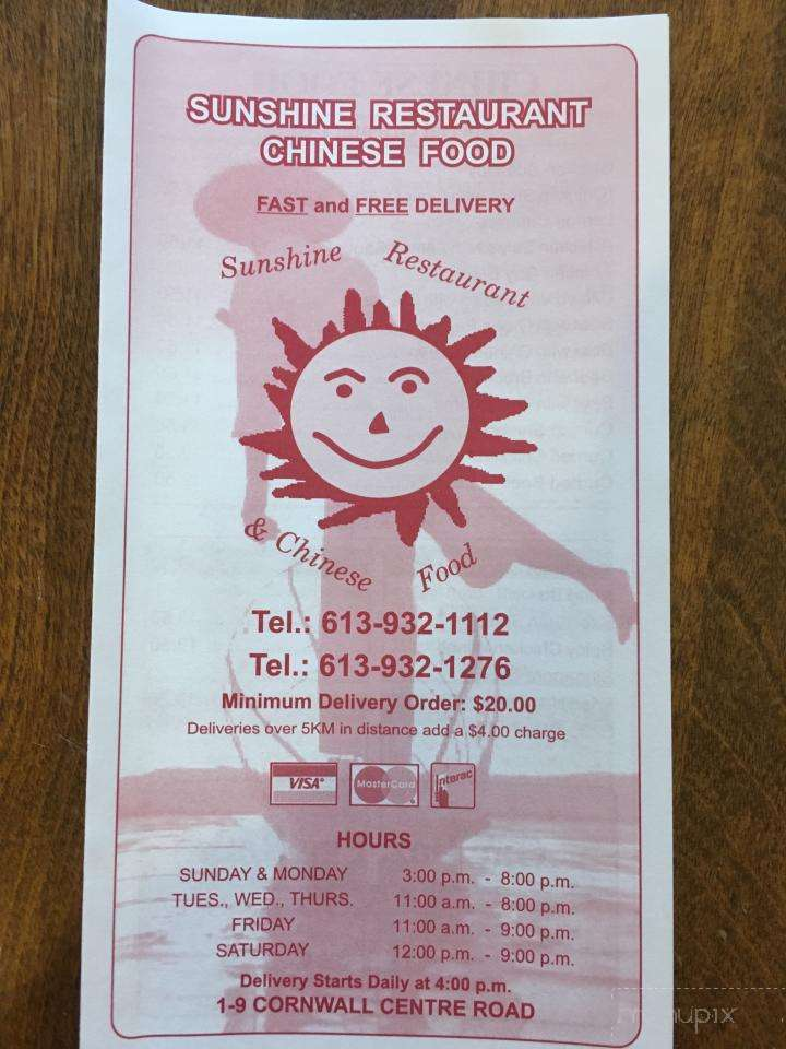 Menu Of Sunshine Chinese Food Restaurant In Cornwall On