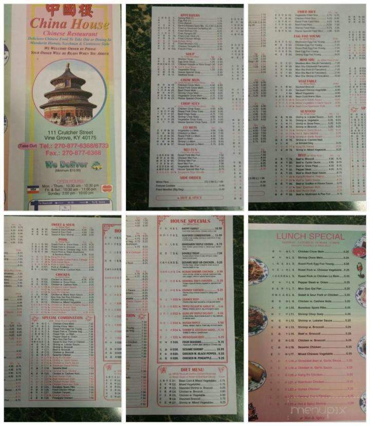 menu of china house in vine grove ky 40175