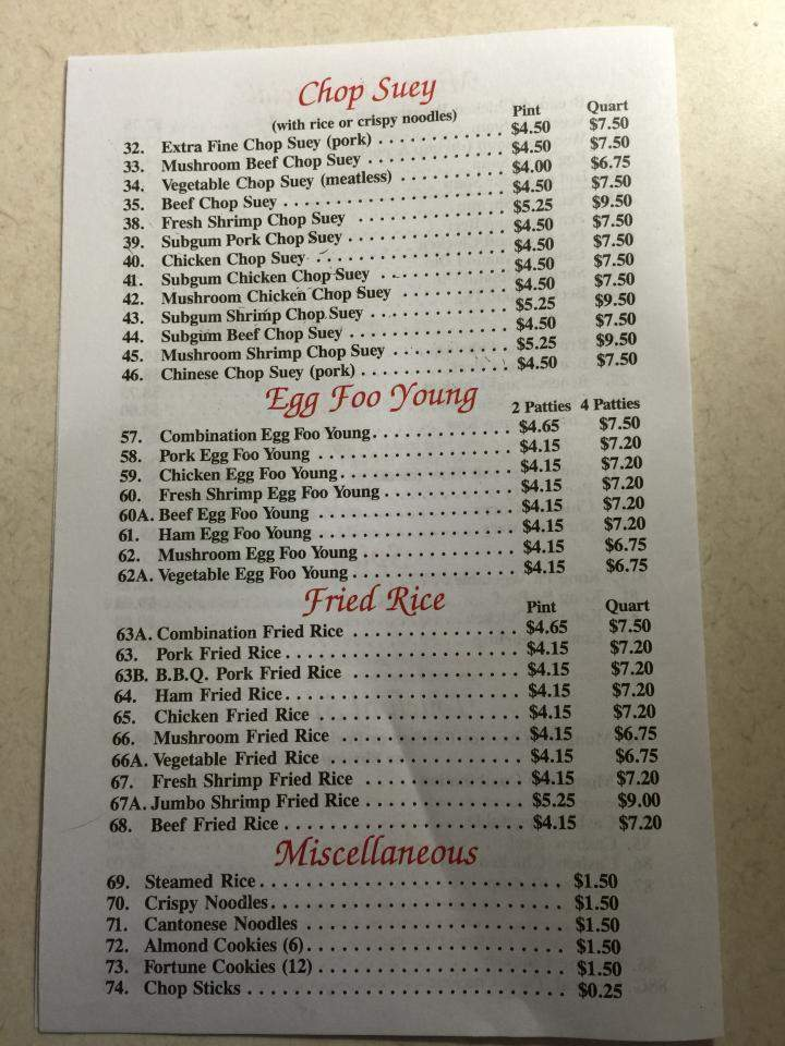 Menu Of Ming Toy Restaurant In Waukegan Il 60087