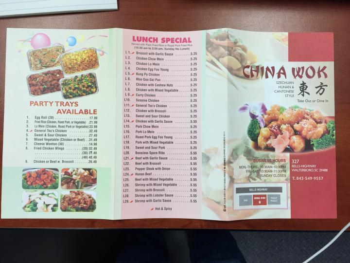 menu of china wok in walterboro sc 29488