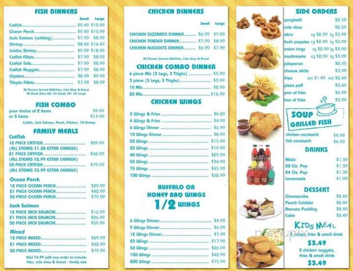 Restaurant menu menupix for Sharks fish and chicken menu