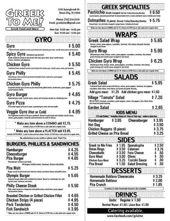 Menu of Greek To Me in Sioux City, IA 51106