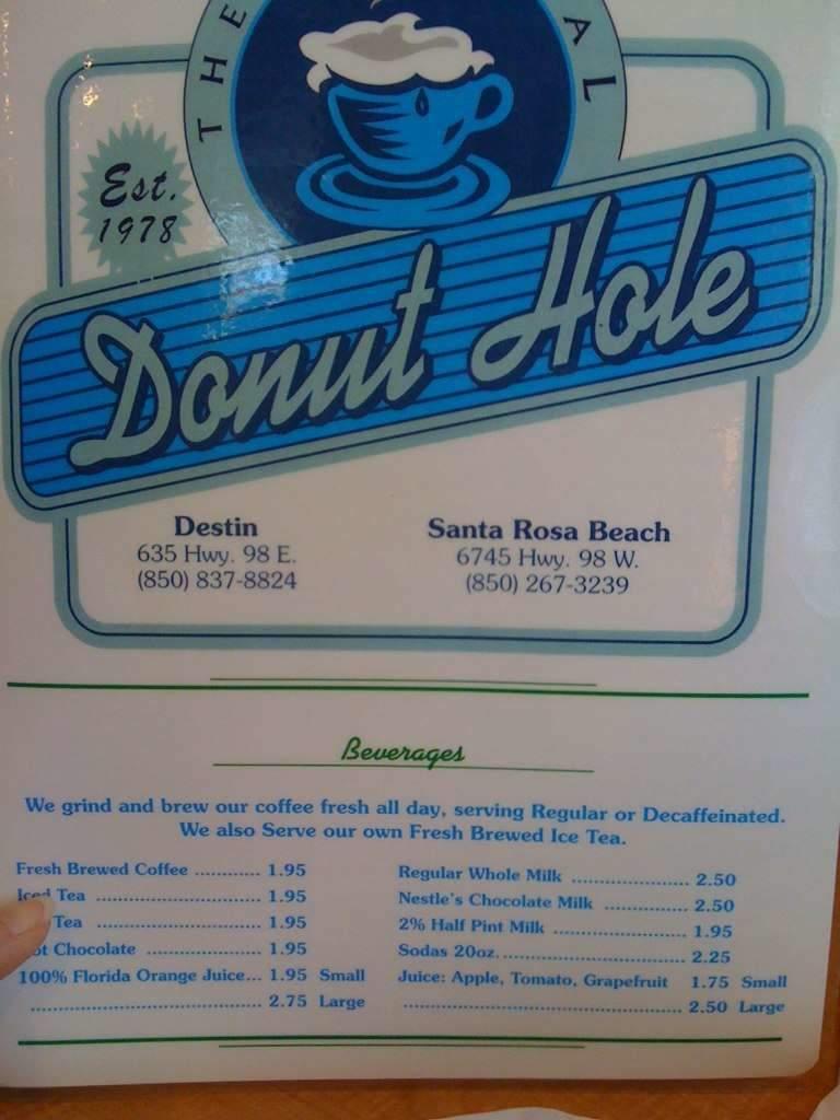Menu Of Donut Hole In Panama City Beach Fl 32413