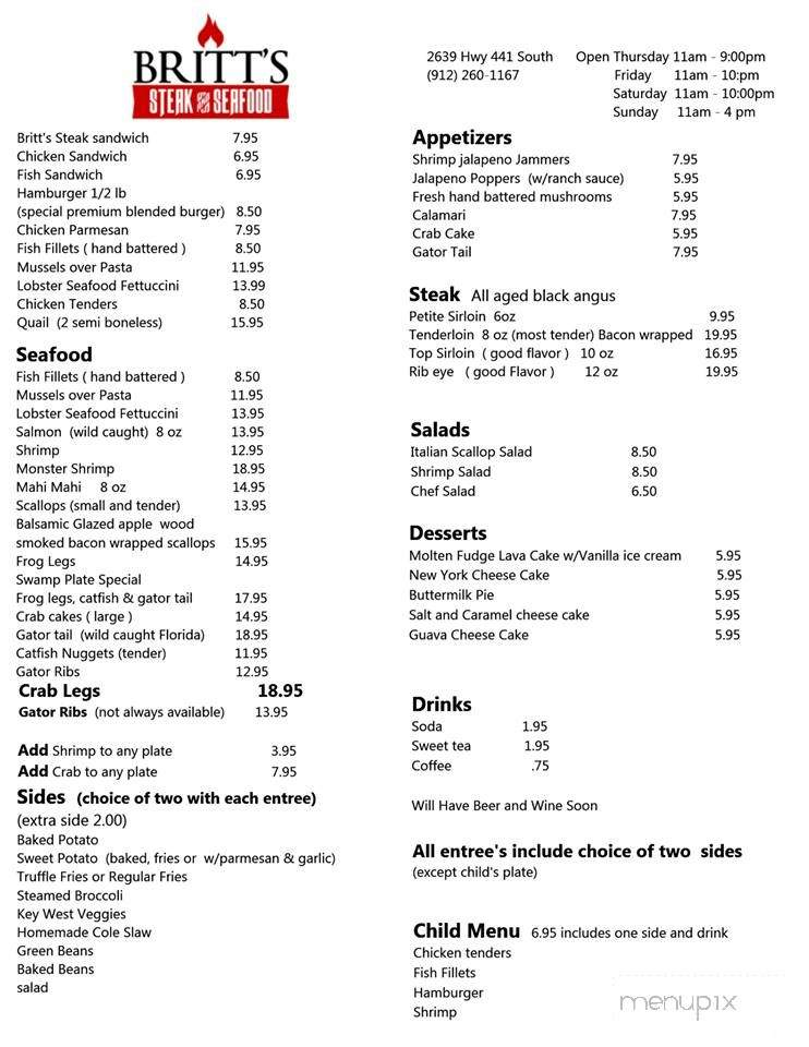 Menu Of Britt S Steak Seafood In Douglas Ga 31533