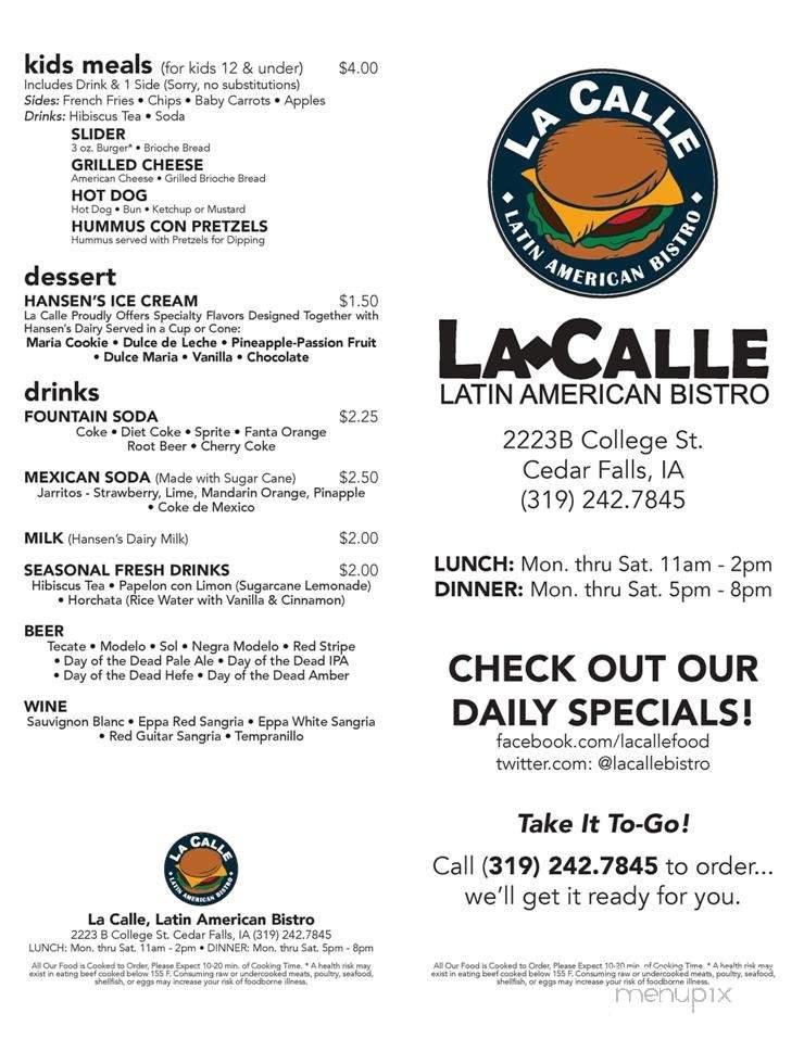 Menu of La Calle, Latin American Bistro in Cedar Falls, IA ...