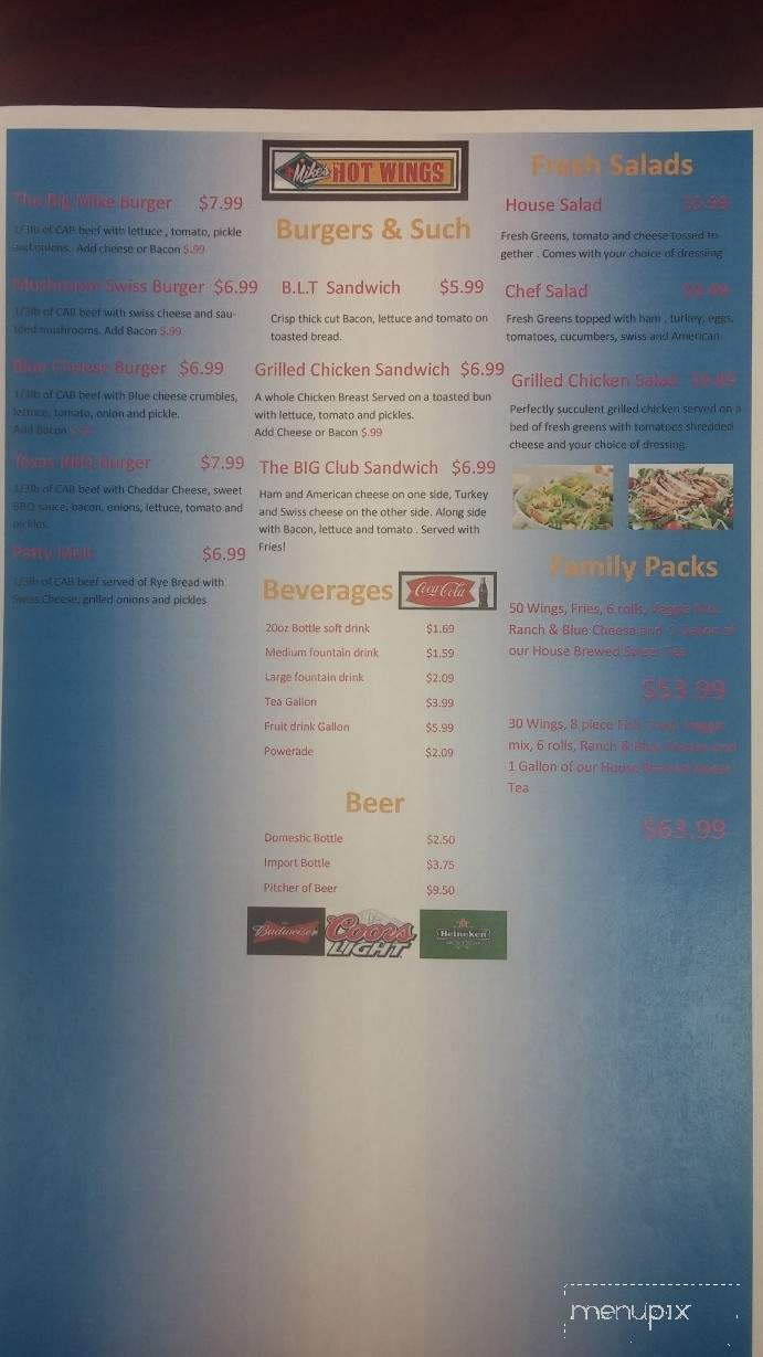 Menu of Mike's Hot Wings & Such in Memphis, TN 38115
