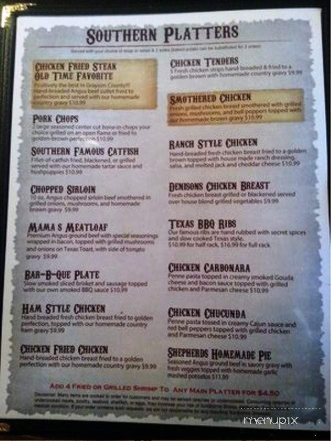 Online Menu Of Southern Grill And Kitchen Denison Tx