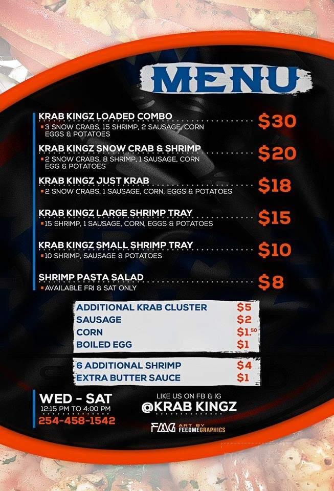 Online Menu of Krab Kingz, Killeen, TX