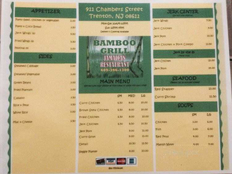 menu of bamboo grill jamaican restaurant in trenton nj 08611